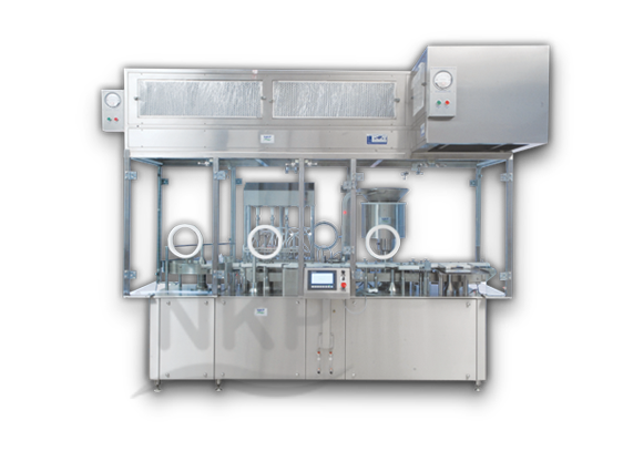 N.K.P. Pharma offers Automatic Six Head Injectable Liquid Filling with Rubber Stoppering Machine.