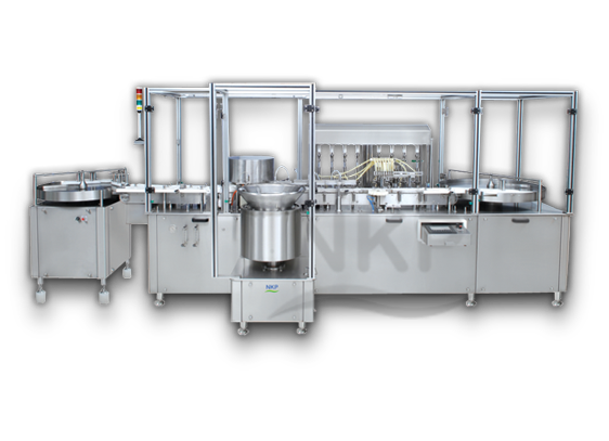 N.K.P. Pharma offers Automatic Eight Head Injectable Liquid Filling with Rubber Stoppering Machine.