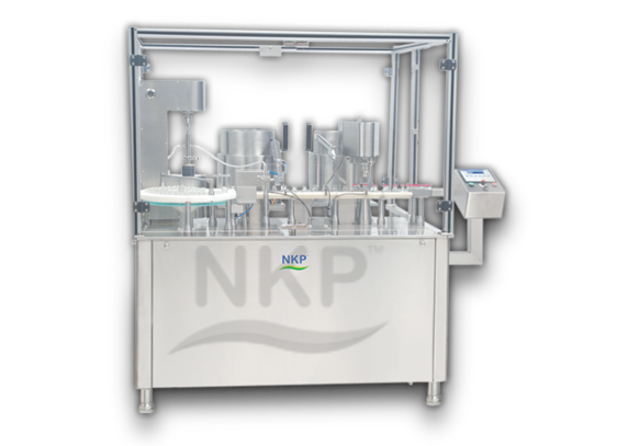 N.K.P. Pharma offers Injectable Liquid Filling with Rubber Stoppering & Sealing Machine.
